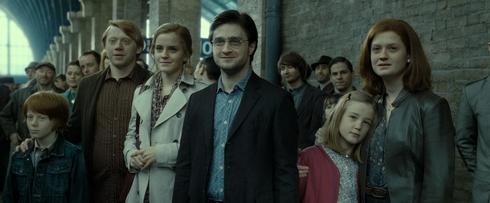 ultime scène de la saga harry, ron, hermione et ginny adultes