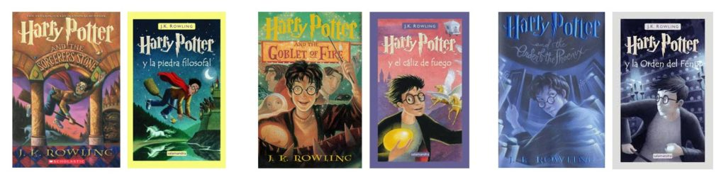 Comparatif de couvertures de Harry Potter US-Castillan (Espagne)