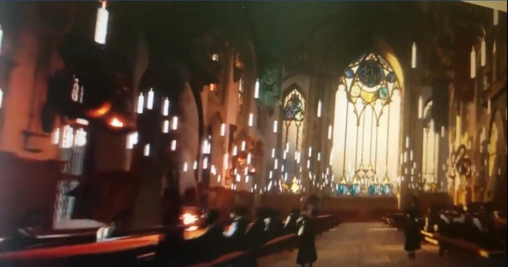capture d'écran d'une vidéo présentant un potentiel futur RPG Harry Potter sur ordinateur et consoles : Grande salle de Poudlard