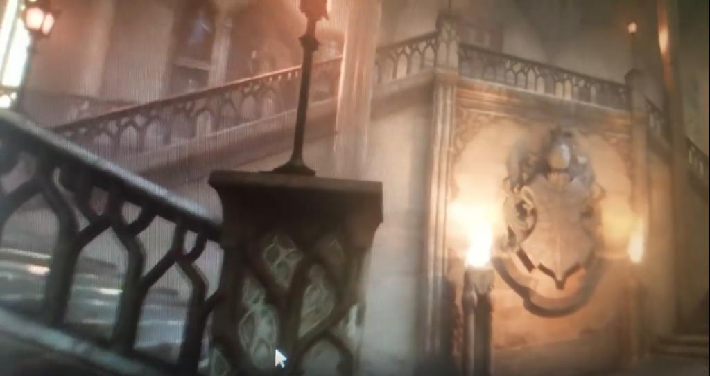 capture d'écran d'une vidéo présentant un potentiel futur RPG Harry Potter sur ordinateur et consoles : escalier de Poudlard