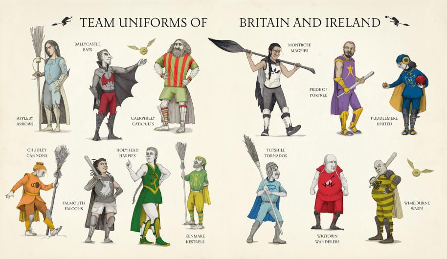Les uniformes des équipes de quididtch dans Le Quidditch à Travers les âges illustré par Emily Gravett, chez Bloomsbury et Gallimard Jeunesse