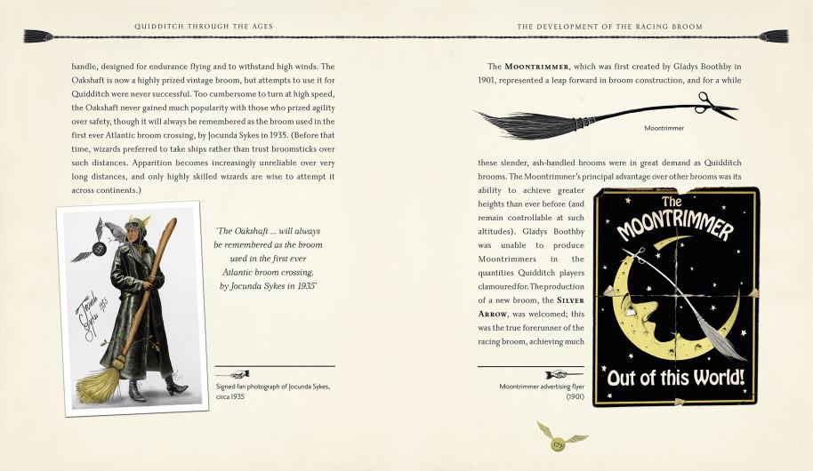 Double page du livre Le Quidditch à Travers les âges illustré par Emily Gravett, chez Bloomsbury et Gallimard Jeunesse