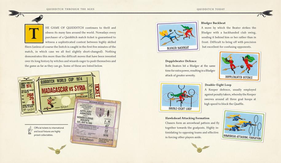 Tickets de la coupe du monde de quidditch et manoeuvres de vol dans Le Quidditch à Travers les âges illustré par Emily Gravett, chez Bloomsbury et Gallimard Jeunesse