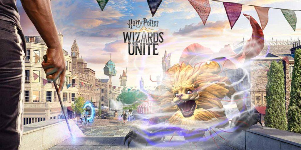 Visuel du jeu Harry Potter : Wizards Unite, avec un Zouwu en pleine ville