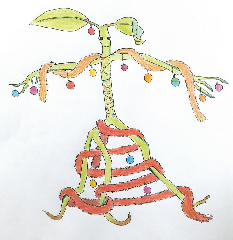 Dessin d'un botruc décoré de guirlandes et boules de Noël