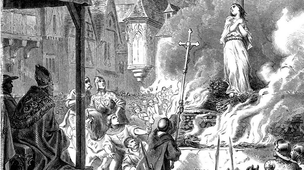 Gravure : un bûcher de sorcière au Moyen-Age