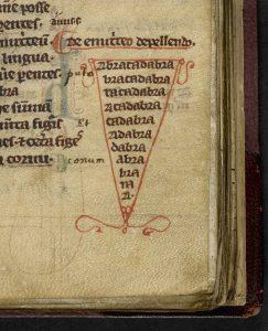 """La formule """"Abracadabra"""" dans l'ouvrage Livre de Médecine de Quintus Serenus Sammonicus"""