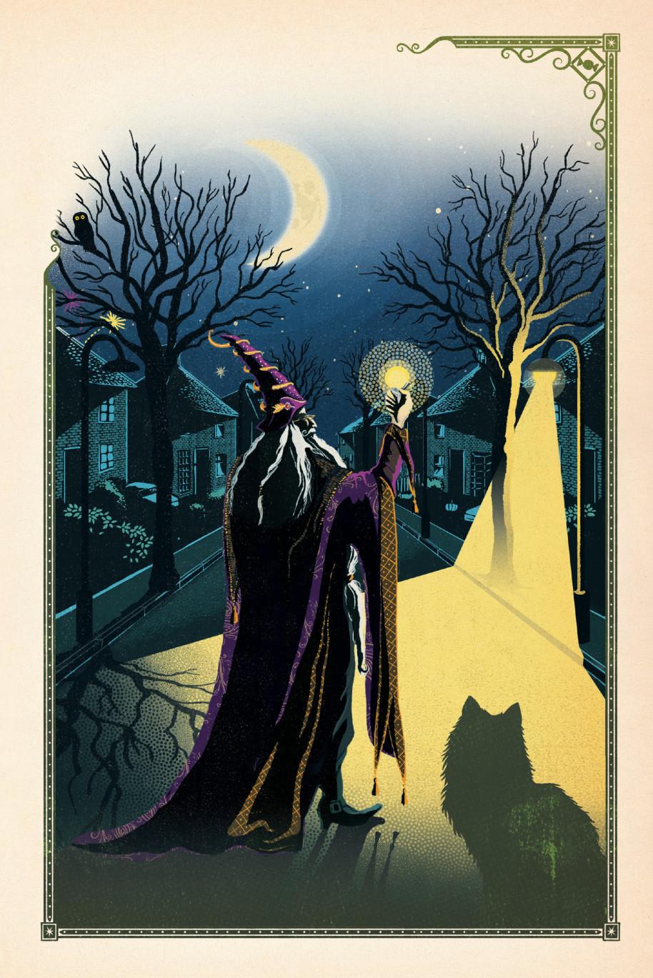 Illustration de Harry Potter à l'école des sorciers - illustré par MinaLima - Dumbledore et son éteignoir à Privet Drive