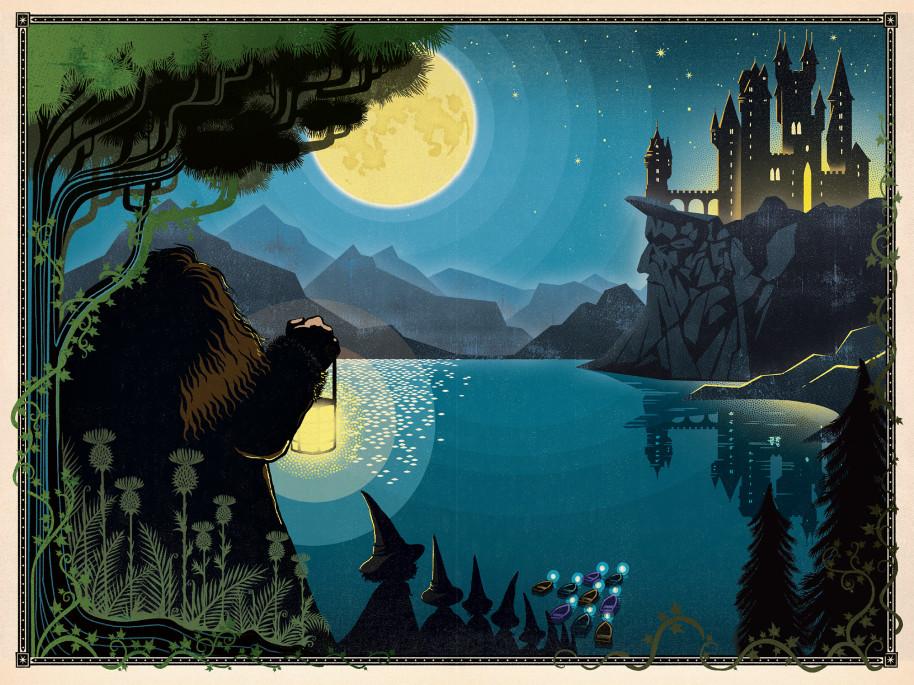 Illustration de Harry Potter à l'école des sorciers - illustré par MinaLima - l'arrivée à Poudlard sur le lac