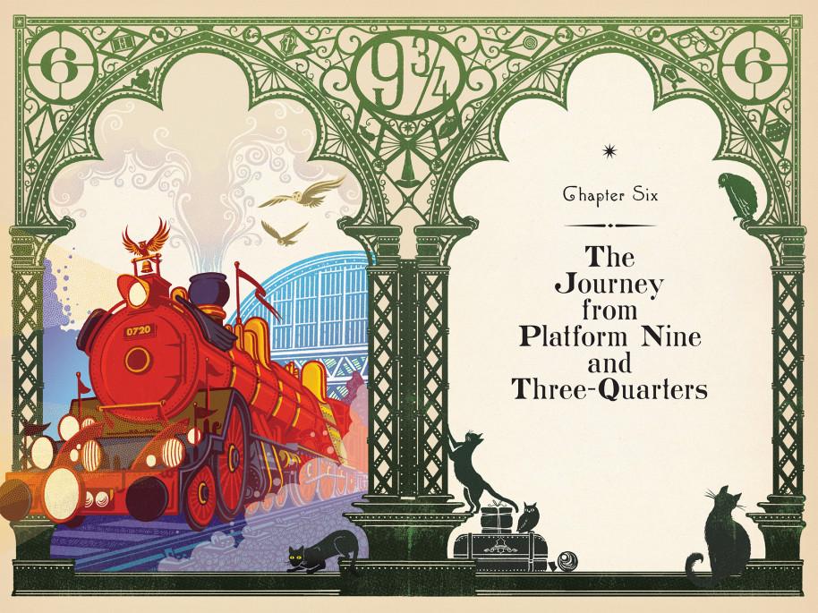 Illustration de Harry Potter à l'école des sorciers - illustré par MinaLima - Le Poudlard Express ay départ sur le quai 9 3/4