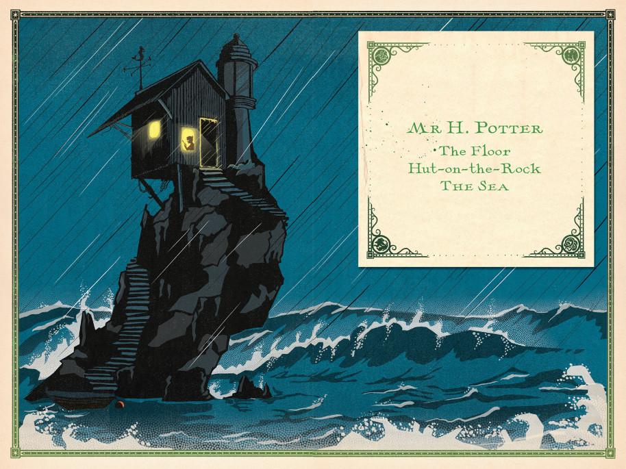 Harry Potter à l'école des sorciers - illustré par MinaLima - cabane sur un rocher au milieu de l'océan avec la lettre d'acceptation à Poudlard