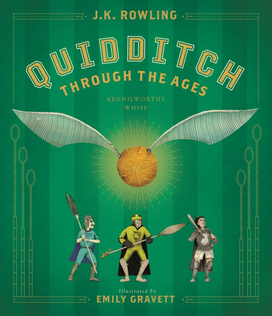 Couverture américaine de Quidditch Though the Ages - Le Quidditch à Travers les âges - édition illustrée par Emily Gravett paru chez Scholastic2020