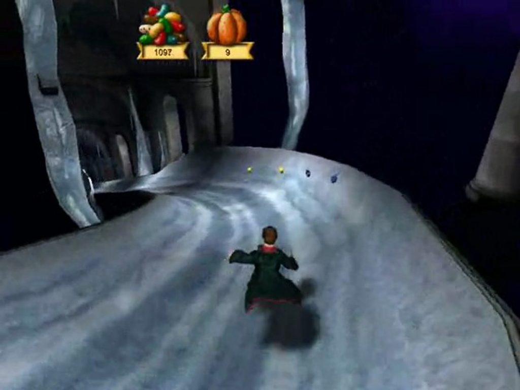 Harry Potter glisse sur son toboggan de glace grâce à Glacius dans HP3.