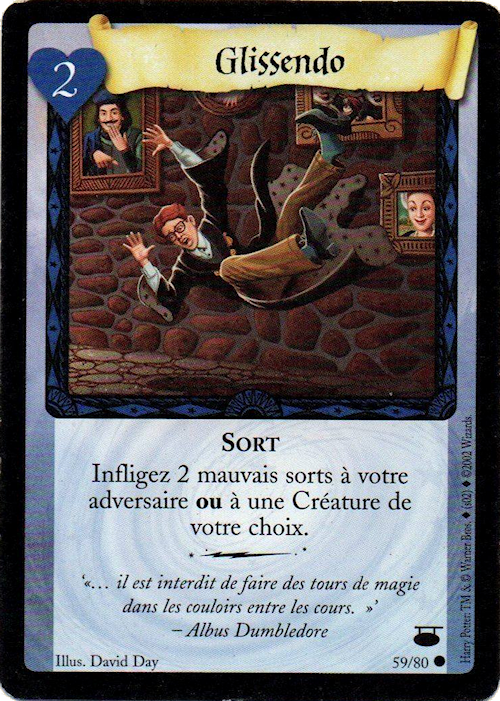 Carte à collectionner Glissendo du jeu de duel Harry Potter (2001)