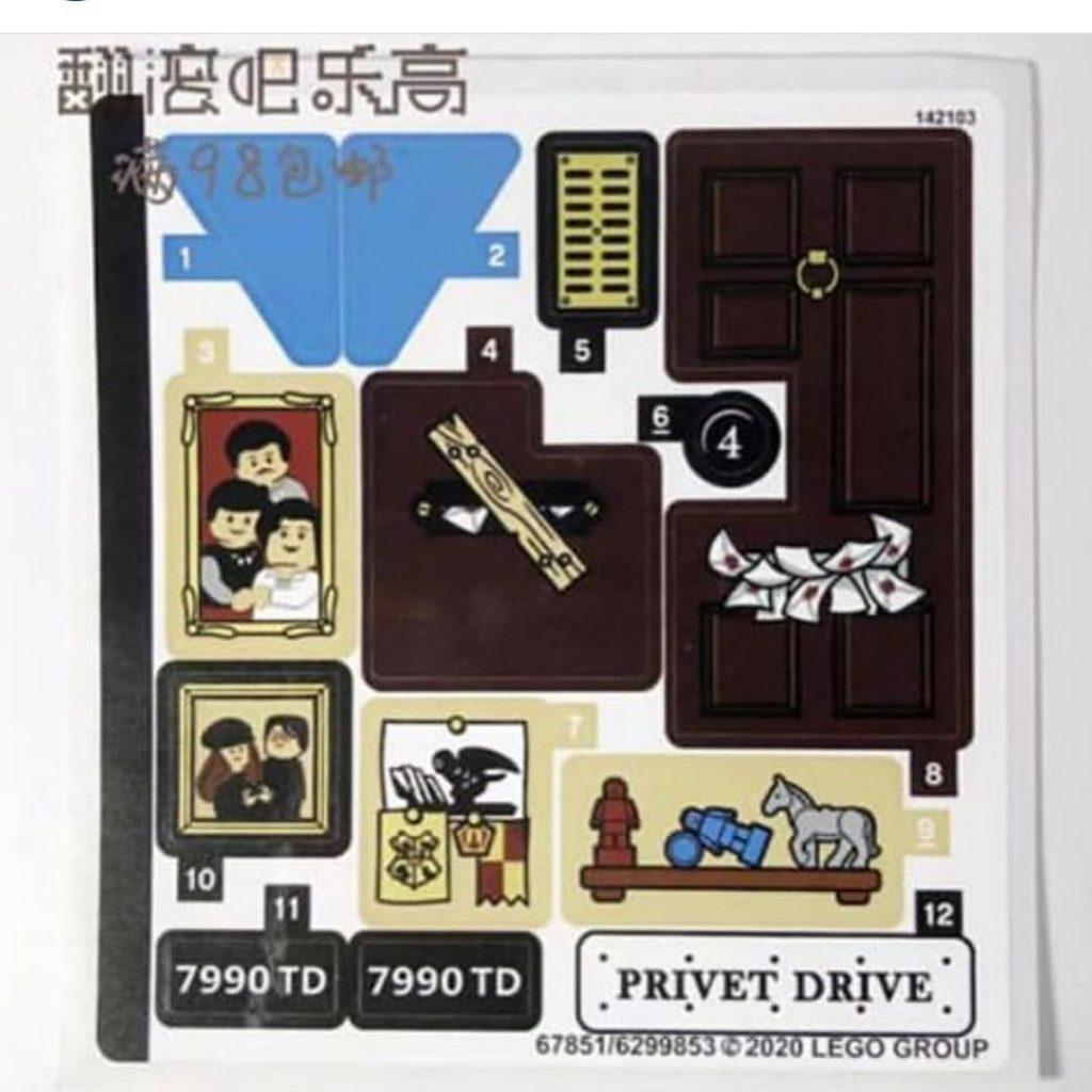 Série d'autocollants pour le set LEGO 2020 Privet Drive