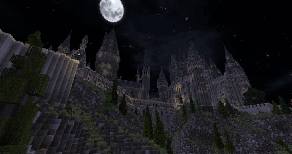 Minecraft - Poudlard de nuit