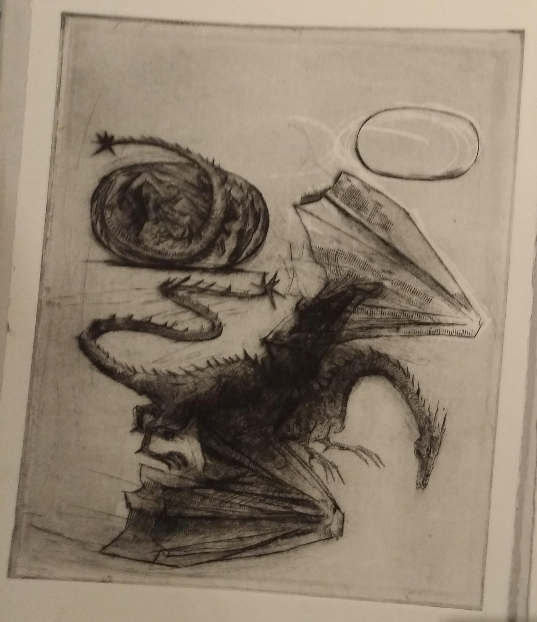 Dessin de dragon pour Les Animaux Fantastiques illustrés chez Gallimard Jeunesse par Olivia Lomenech Gill