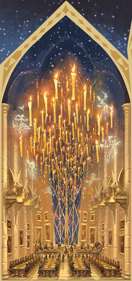 La Grande salle de Poudlard par Apolar pour les éditions Thaïs