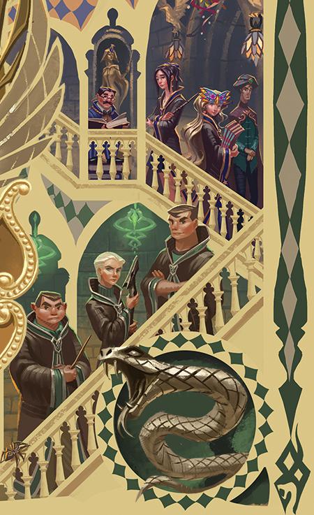 Zone Serpentard par Apolar sur le coffret de Harry Potter en Thaï : Crabbe, Goyle et Drago Malefoy
