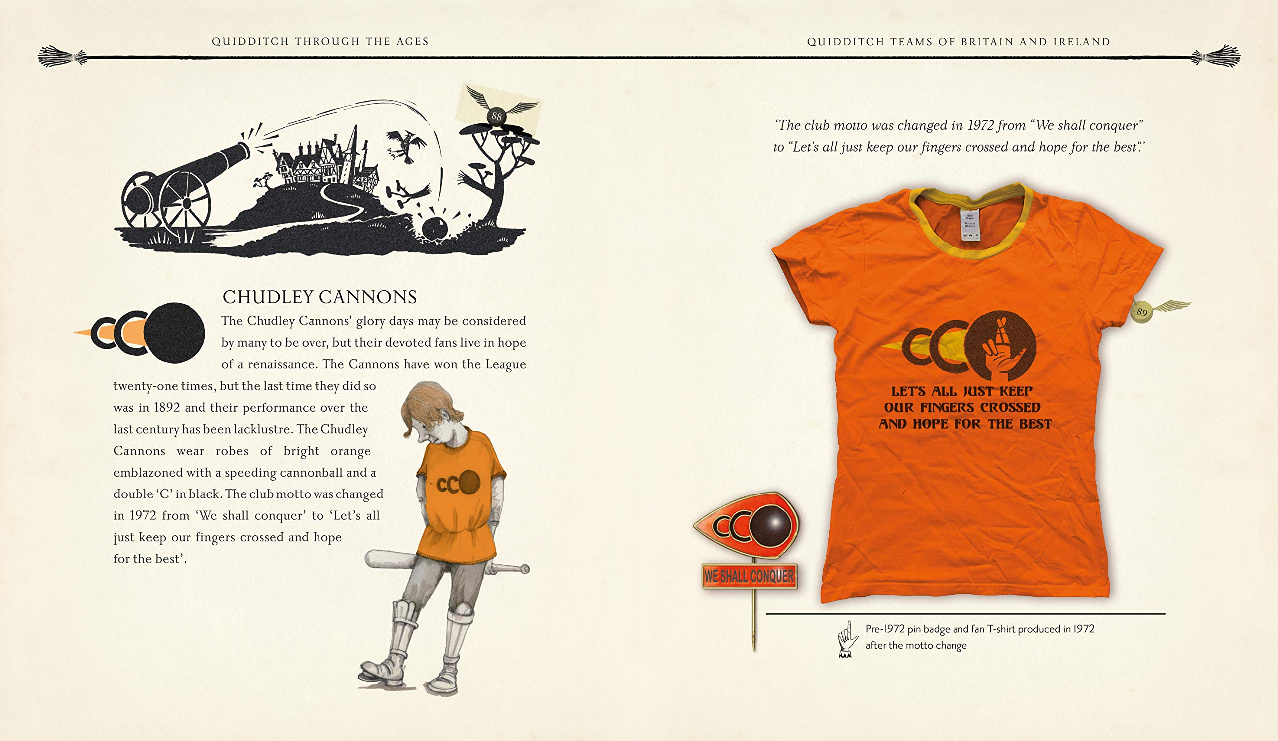 T-shirt de supporter des Canon de Chudley dans Le Quidditch à Travers les âges illustré par Emily Gravett, chez Bloomsbury et Gallimard Jeunesse