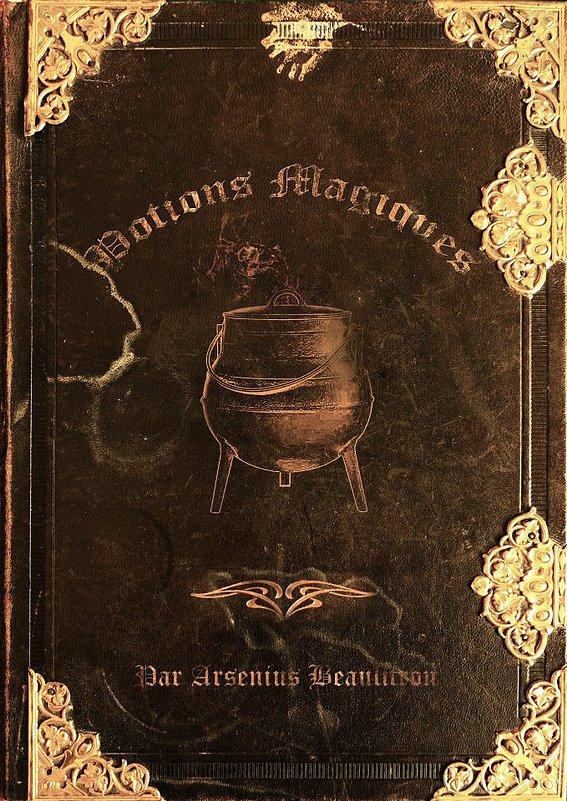 Couverture fanmade d'un livre de potions