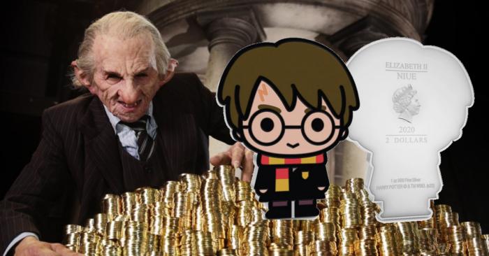 Des pièces de monnaie chibi Harry Potter en Nouvelle-Zélande.