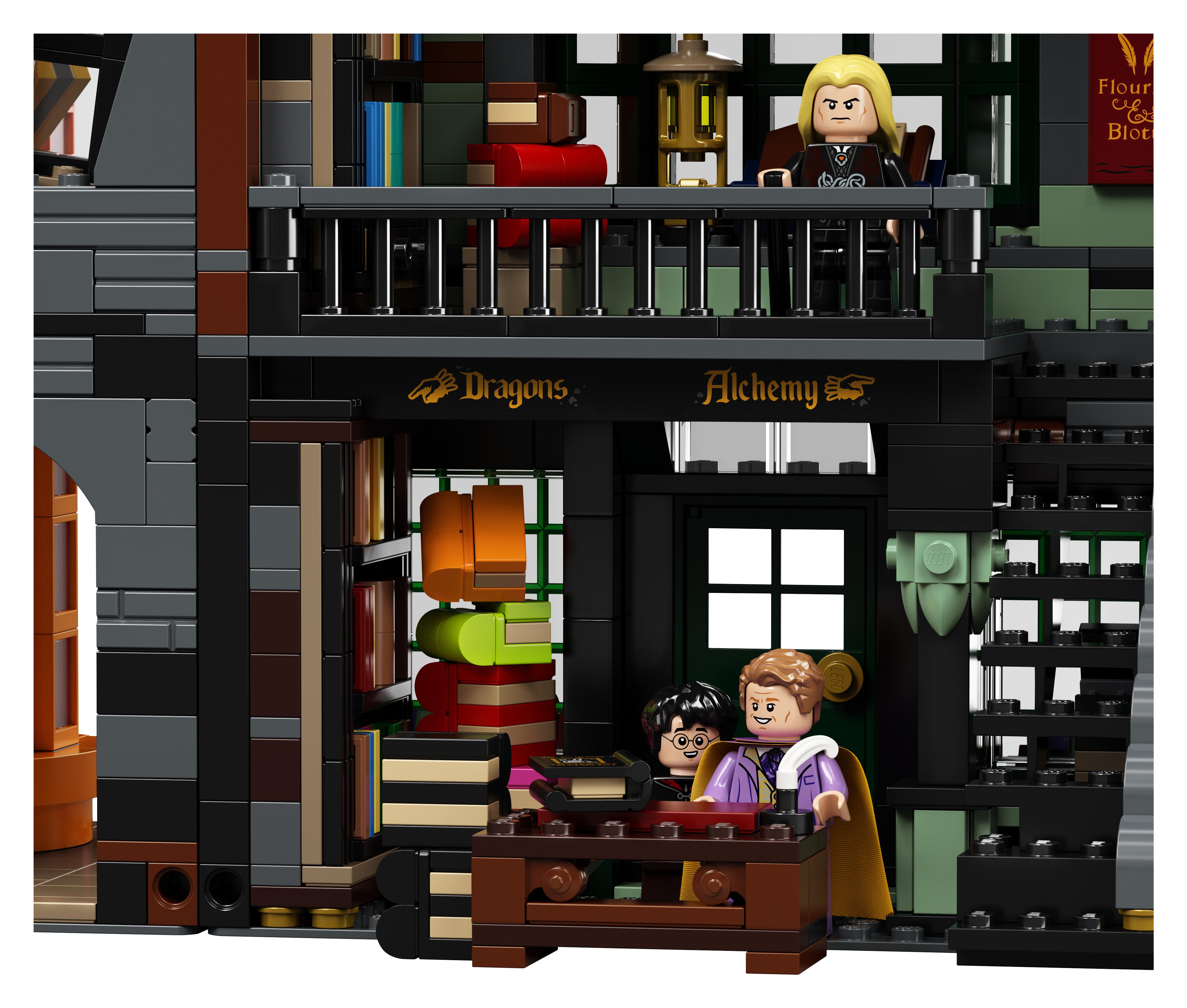 Le Chemin de Traverse en LEGO, version 2020, intérieur de la librairie Fleury et Botts