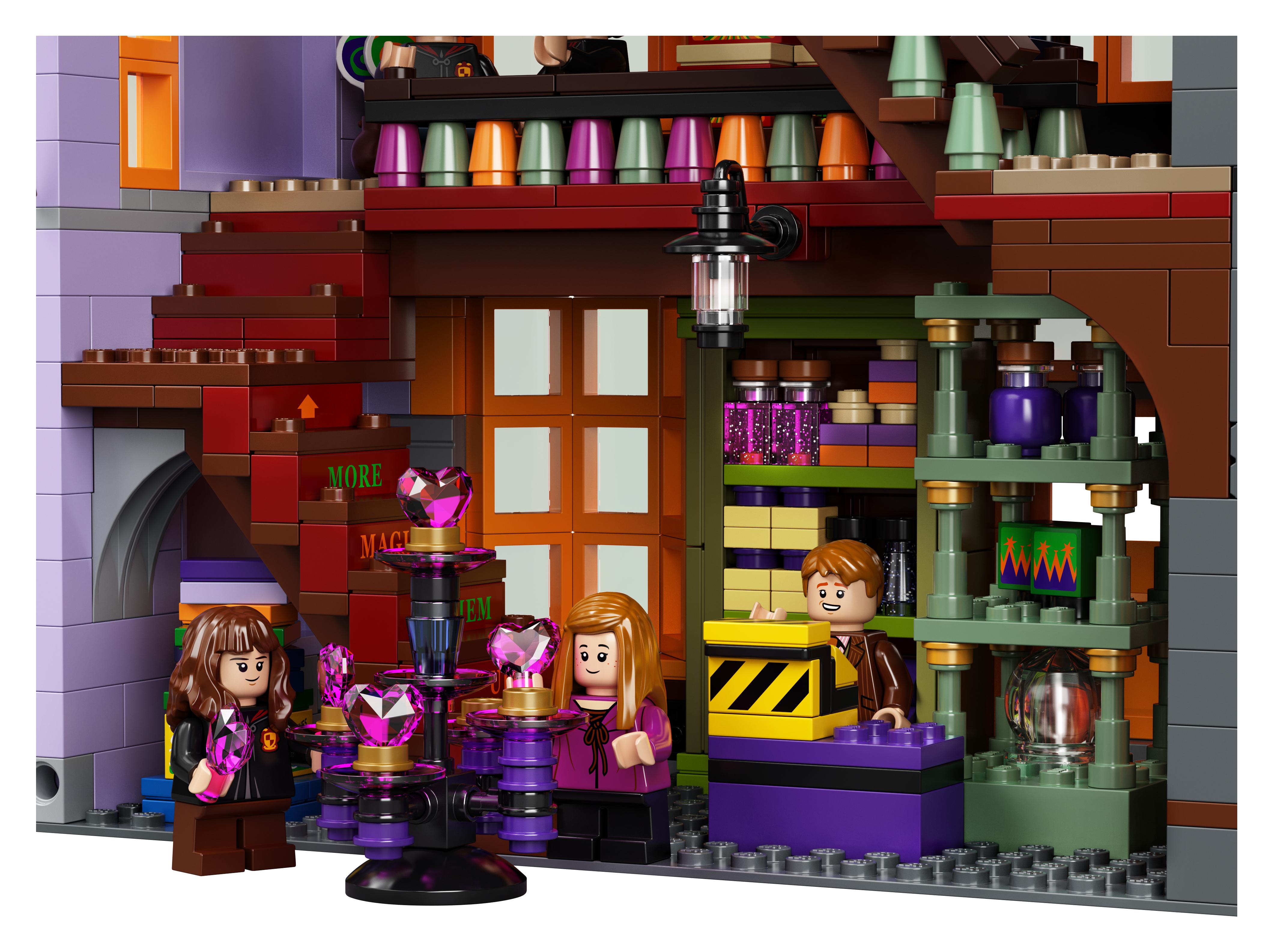 Le Chemin de Traverse en LEGO, version 2020, détail de l'intérieur du magasin Weasley