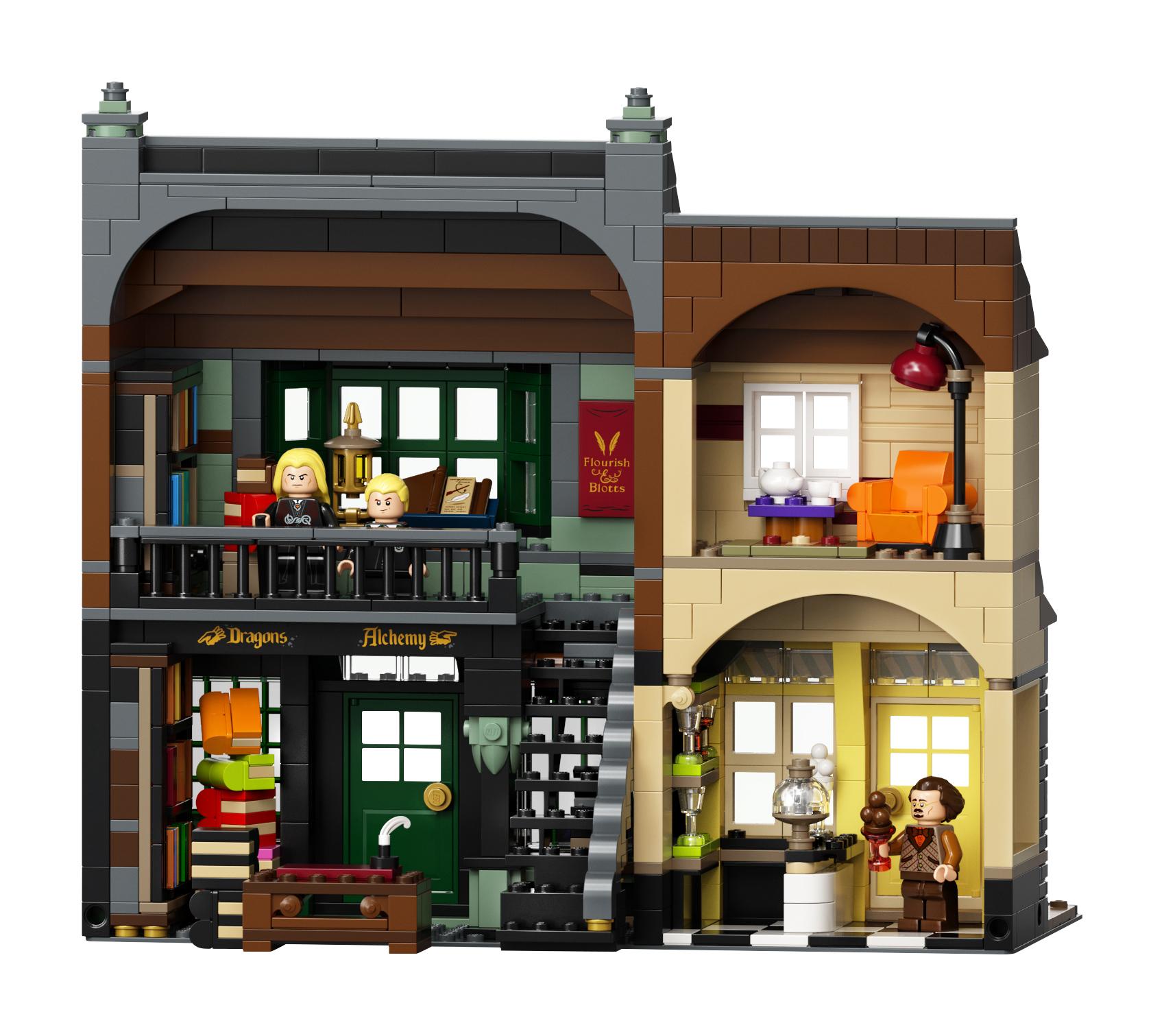 Le Chemin de Traverse en LEGO, version 2020, intérieur de Fleury et Botts et du glacier Florian Fortarôme