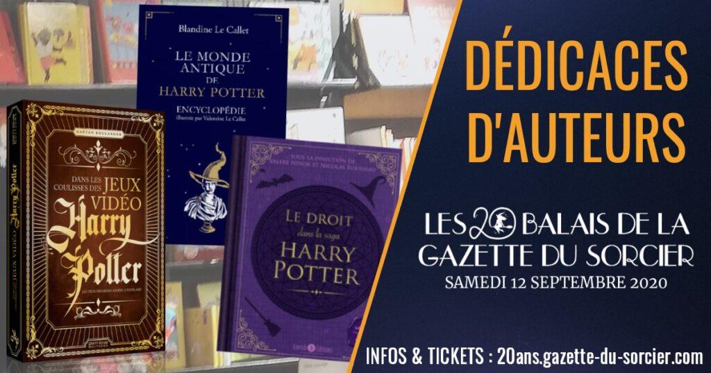 Livre dérivés de Harry Potter dont les auteurs étaient présents lors des 20 balais de la Gazette du sorcier, événement Harry Potter célébrant 20 ans d'actualité du Wizarding World en France