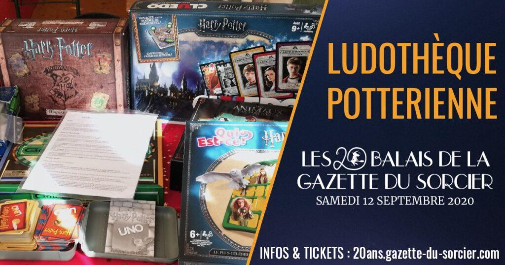 Visuel de la ludothèque Harry Potter de la Gazette du Sorcier pour l'événement les 20 balais de la Gazette du sorcier, célébrant 20 ans d'actualité Harry Potter en France
