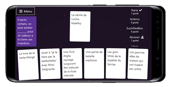 """Capture d'écran du jeu de cartes """"Limite-Limite"""" Harry Potter sur mobile"""