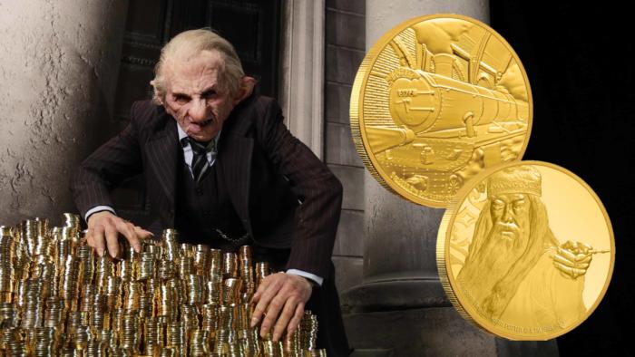 Dumbledore et le Poudlard Express sur la monnaie de Nouvelle Zélande