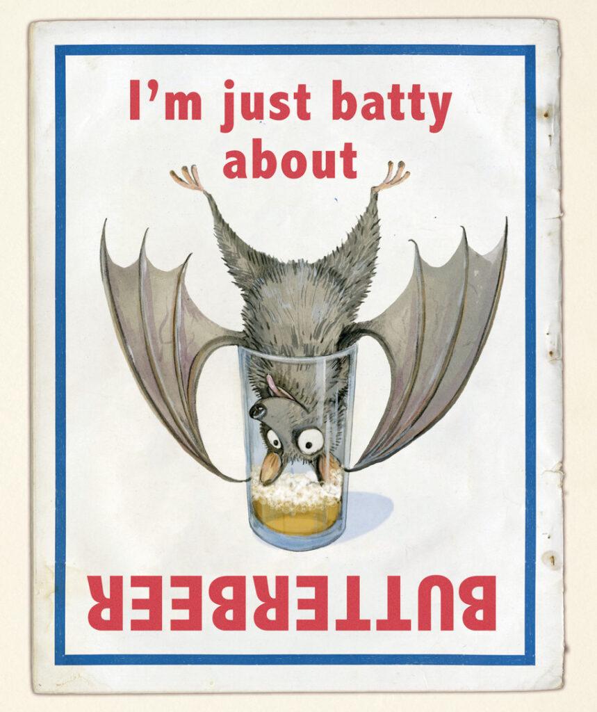 Publicité pourune bièraubeurre imaginée pour le monde magique de Harry Potter dans Le Quidditch à Travers les Âges par Emily Gravett