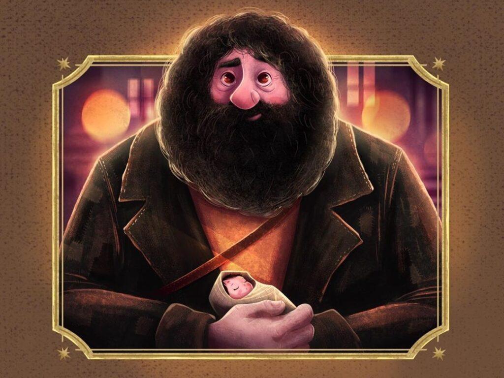 Hagrid avec Harry Potter bébé dans ses bras, par Arrian Macho