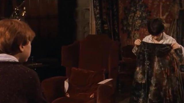 Harry Potter tient sa cape d'invisibilité Harry Potter à l'école des sorciers