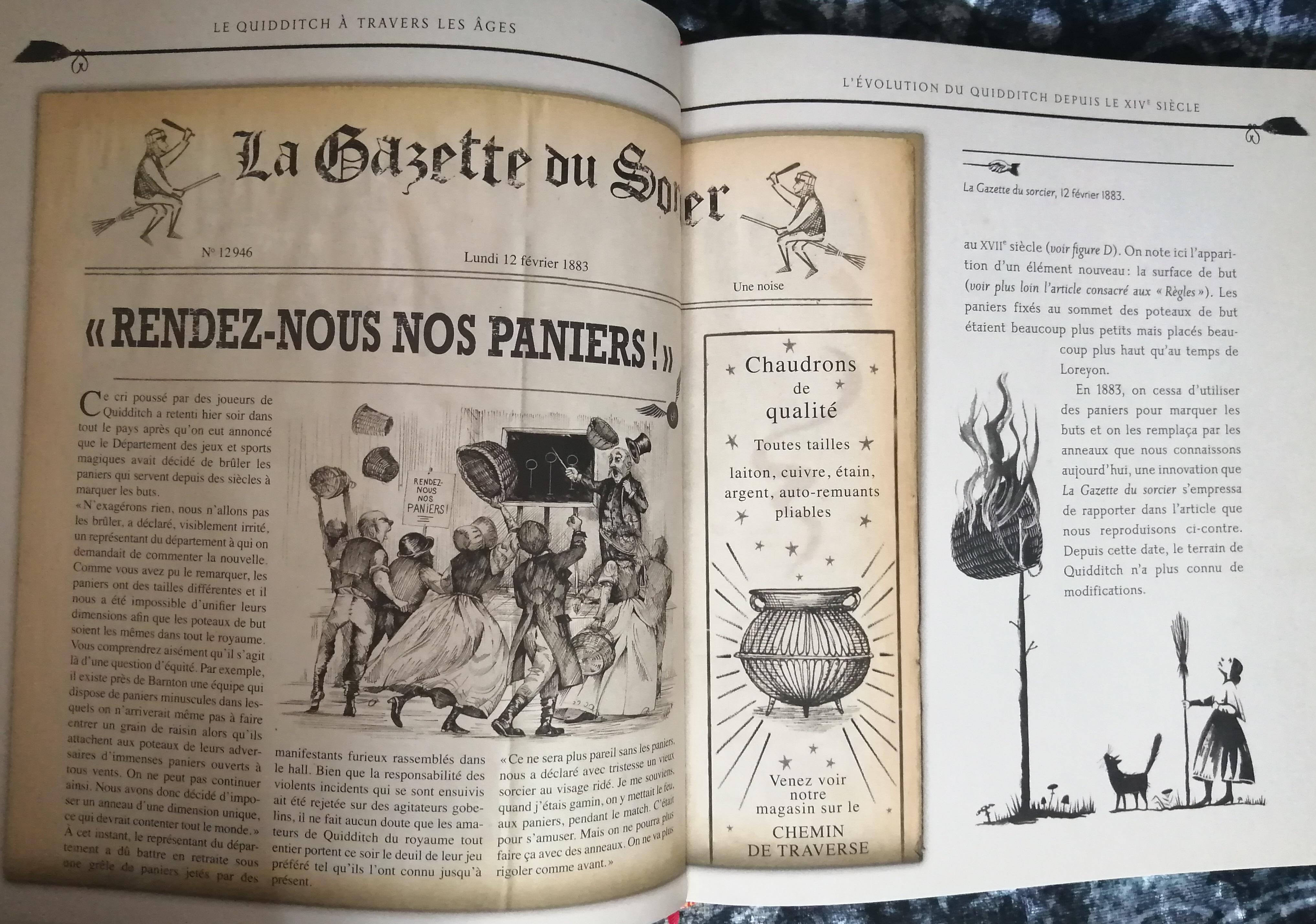 Gazette du sorcier dans Le Quidditch à travers les âges illustré par Emily Gravett - édition Gallimard Jeunesse