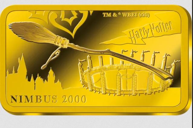 Lingot d'or Harry Potter  Nimbus 2000 avec terrain de quidditch en fond