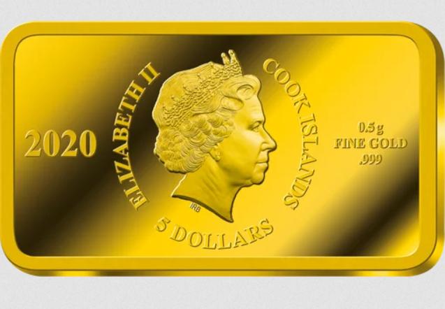 Lingot d'or verso profil de la Reine d'Angleterre