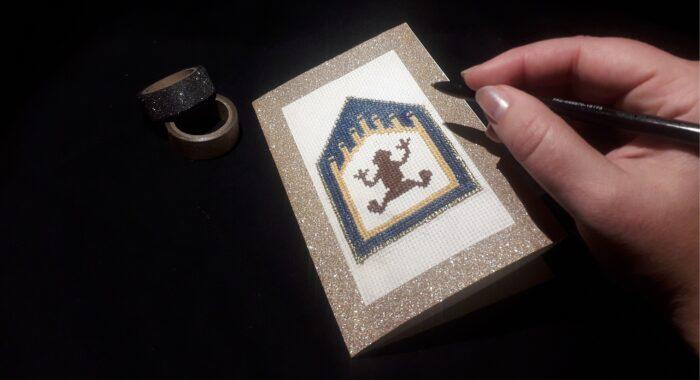 Tutoriel – Carte de vœux point de croix Chocogrenouille