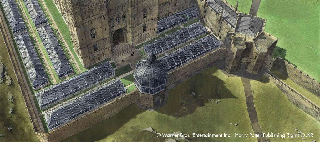 Dessins conceptuel de serres de botaniques de Poudlard pour Harry Potter et la Chambre des Secrets