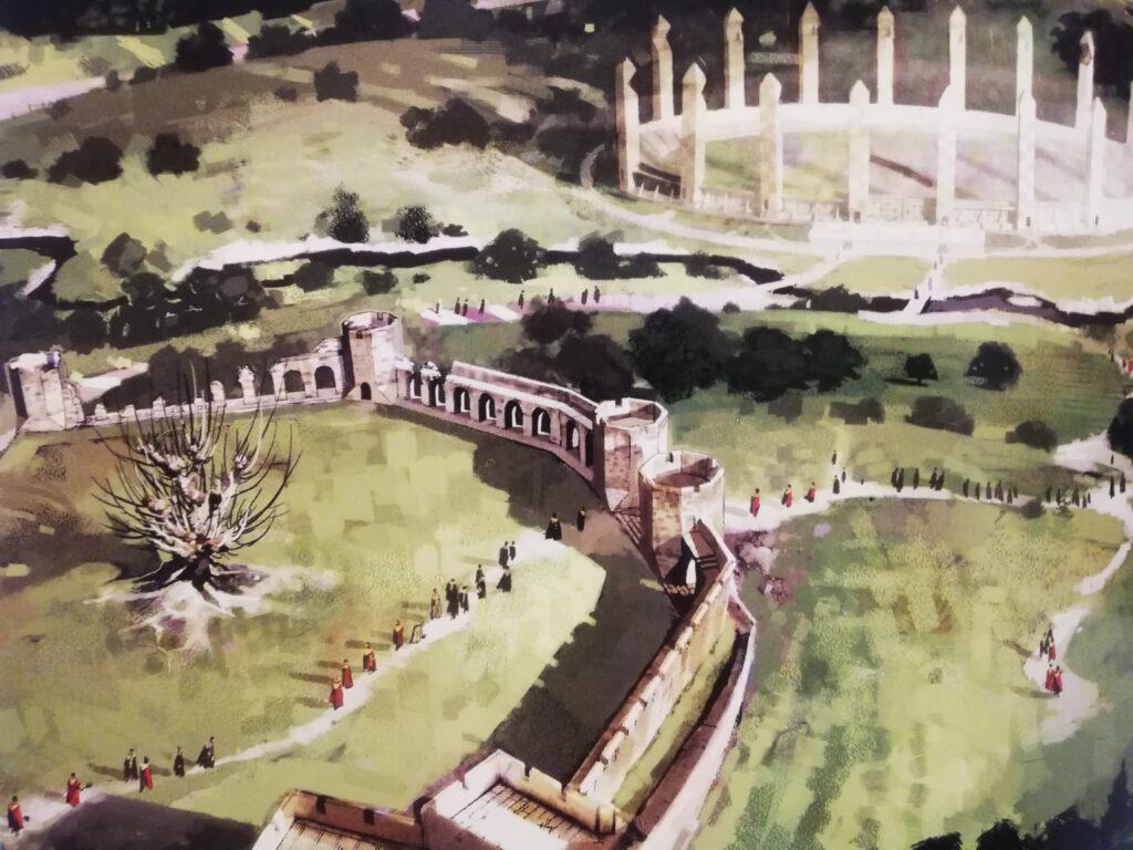Dessin conceptuel de la deuxième enceinte de Poudlard et du terrain de quidditch dans Harry Potter et la chambre des secrets