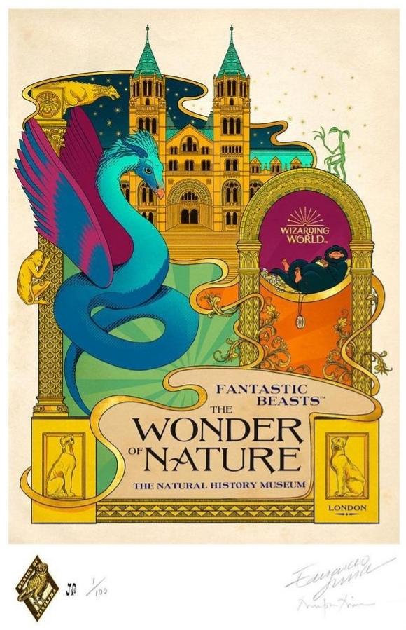 Affiche réalisée par Minalima pour l'exposition  Fantastic Beasts : The Wonder of Nature au Musée d'histoire naturelle de Londres