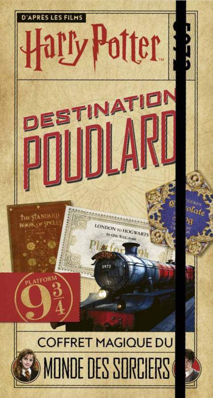 """Couverture de """"Destination Poudlard"""" coffret-livre dérivé Harry Potter aux éditions Gallimard Jeunesse"""