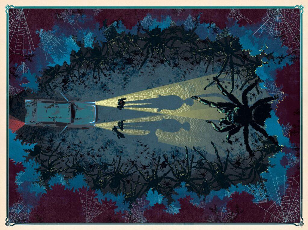L'antre de Aragog, l'araignée géante, dans Harry Potter et la Chambre des Secrets illustré par Minalima, les graphistes du Wizarding World