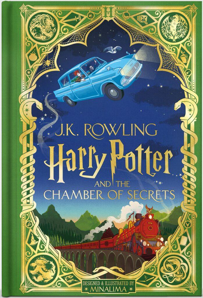 Couverture de Harry Potter et la Chambre des Secrets, édition illustrée par Minalima, les graphistes du Wizarding World