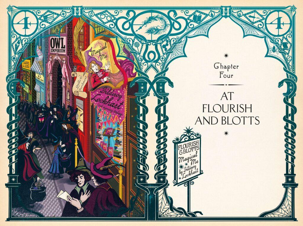 Entête du Chapitre Fleury & Botts par Minalima pour l'édition illustrée de Harry Potter et la Chambre des Secrets