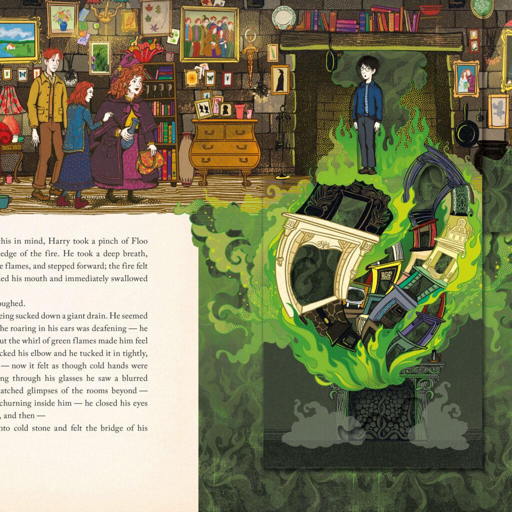 La cheminée du Terrier, maison des Weasley, avec la poudre de cheminette dans Harry Potter et la Chambre des secrets, édition illustrée par Minalima, les graphistes du Wizarding World