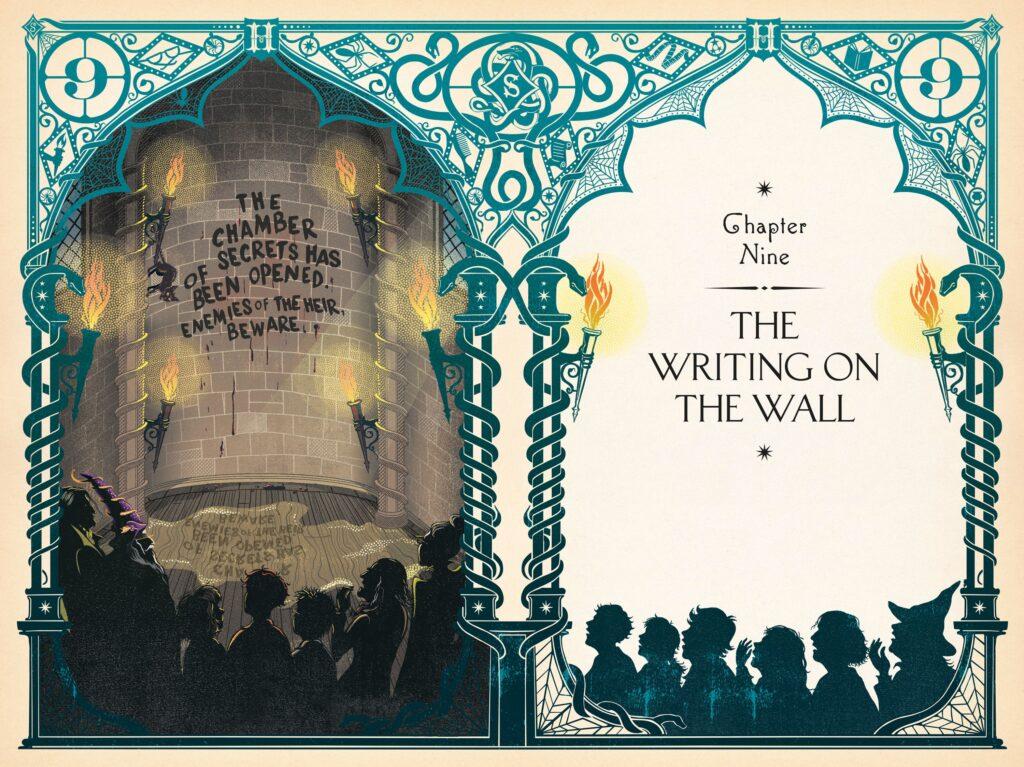 Entête du Chapitre L'avertissement par Minalima pour l'édition illustrée de Harry Potter et la Chambre des Secrets