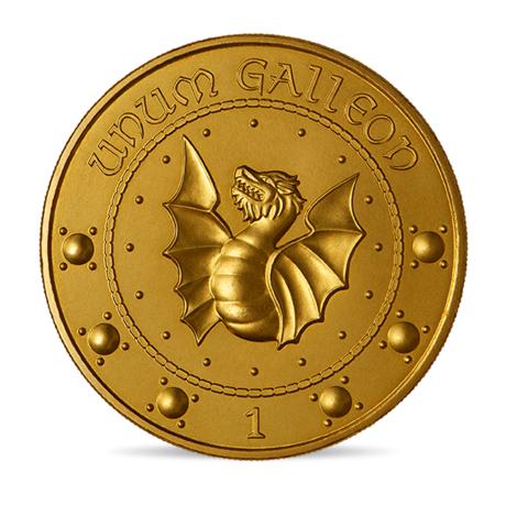 Médaille de 1 gallion frappée par la monnaie de Paris pour les 20 ans de la saga Harry Potter; inscription unum galleon